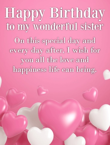 Happy Birthday Card Messages For Sister - Happy Birthday Card Message